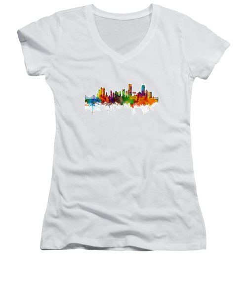 Boston Massachusetts Skyline Women's V-Neck (Athletic Fit)