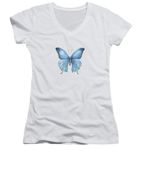 111 Blue Elijah Butterfly Women's V-Neck