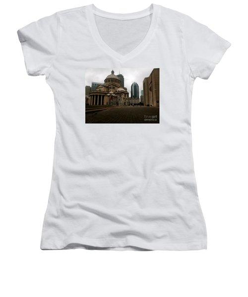 111 Huntington Ave Women's V-Neck T-Shirt (Junior Cut) by KD Johnson