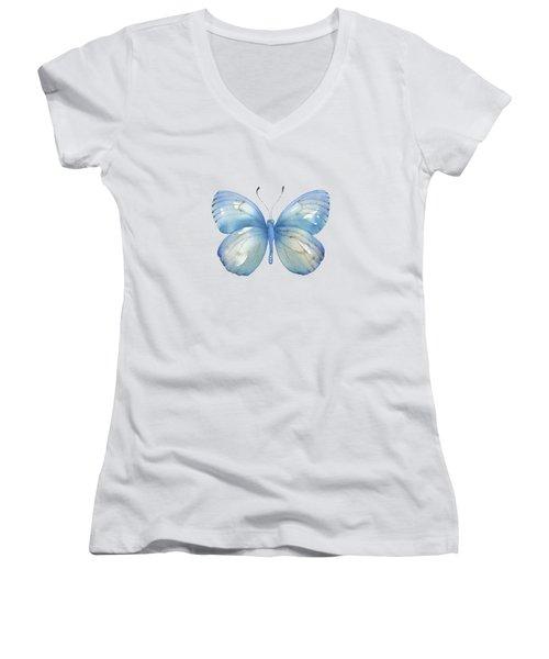112 Blue Marcia Butterfly Women's V-Neck