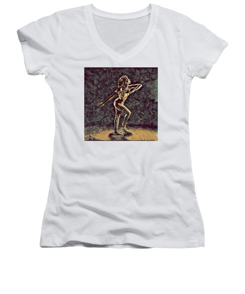1192s-zac Nudes In The Style Of Antonio Bravo  Women's V-Neck T-Shirt (Junior Cut) by Chris Maher