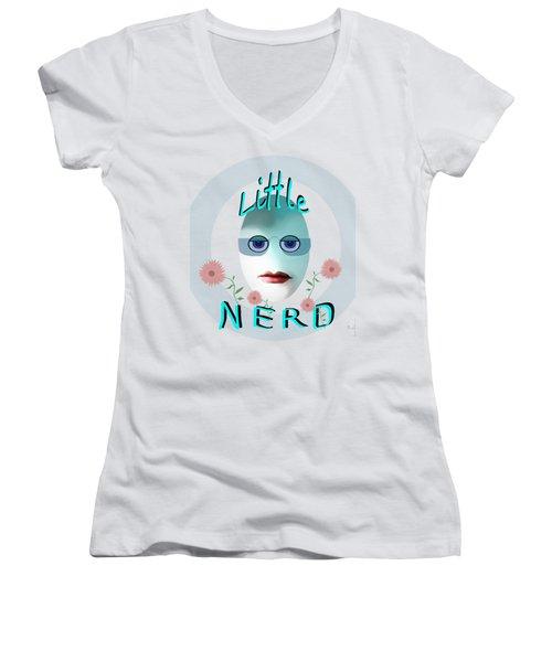 1283 - Little Nerd Tshirt Design Women's V-Neck T-Shirt (Junior Cut) by Irmgard Schoendorf Welch