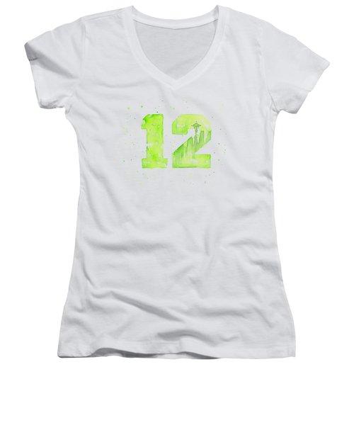 12th Man Seahawks Art Go Hawks Women's V-Neck T-Shirt (Junior Cut) by Olga Shvartsur
