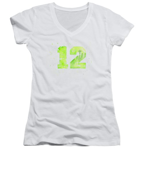 12th Man Seahawks Art Go Hawks Women's V-Neck T-Shirt