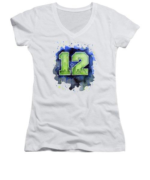 12th Man Seahawks Art Seattle Go Hawks Women's V-Neck T-Shirt (Junior Cut) by Olga Shvartsur
