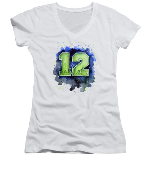 12th Man Seahawks Art Seattle Go Hawks Women's V-Neck T-Shirt (Junior Cut)