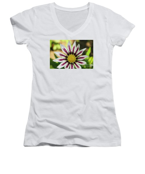 Nice Flower Women's V-Neck T-Shirt (Junior Cut) by Elvira Ladocki