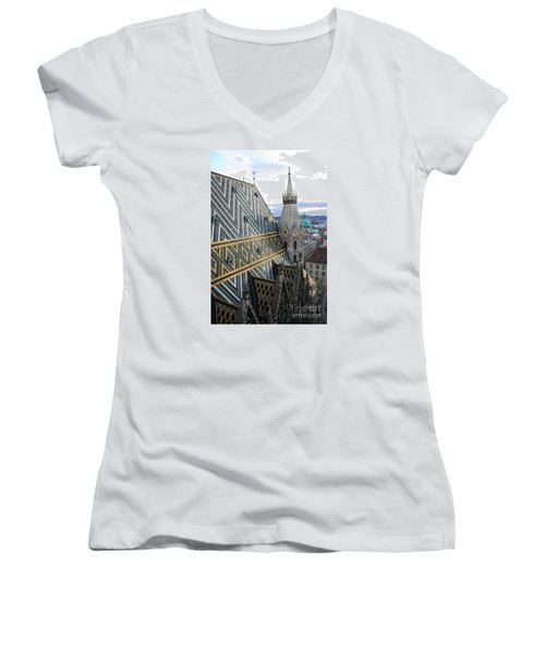 St Stephens Cathedral Vienna Women's V-Neck T-Shirt (Junior Cut) by Angela Rath