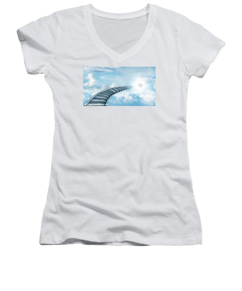 Women's V-Neck T-Shirt (Junior Cut) featuring the digital art Stairway To Heaven by Les Cunliffe