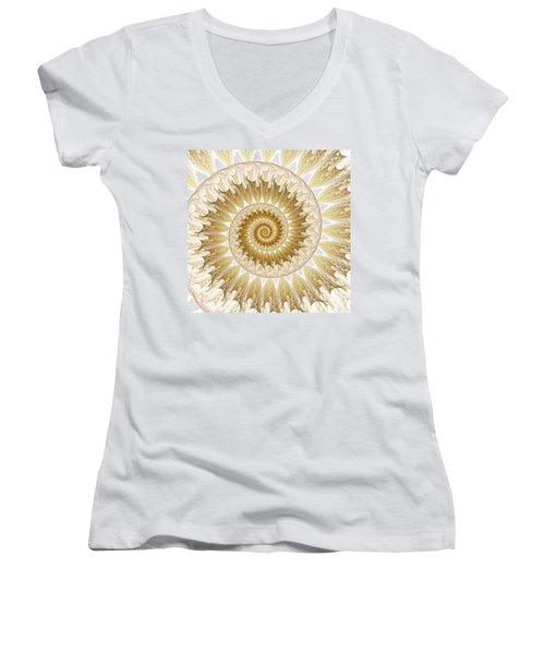 Women's V-Neck T-Shirt (Junior Cut) featuring the digital art 18 Karat by Lea Wiggins