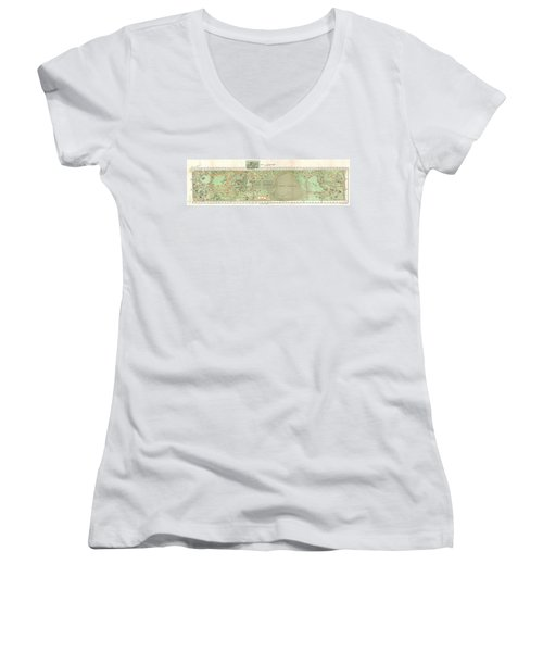 1870 Vaux And Olmstead Map Of Central Park New York City Women's V-Neck T-Shirt