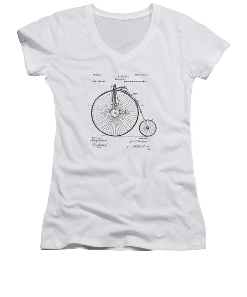 Women's V-Neck featuring the digital art 1881 Velocipede Bicycle Patent Artwork - Vintage by Nikki Marie Smith
