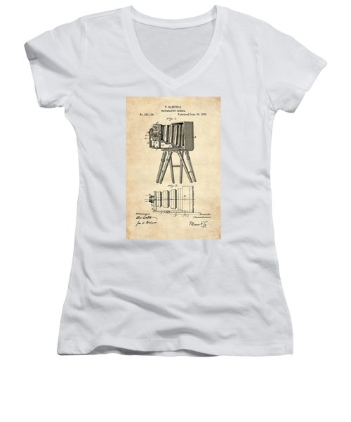 1885 Camera Us Patent Invention Drawing - Vintage Tan Women's V-Neck T-Shirt