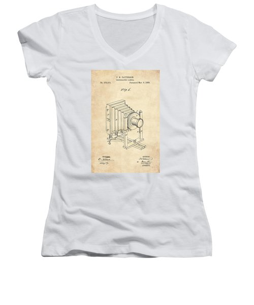 1888 Camera Us Patent Invention Drawing - Vintage Tan Women's V-Neck T-Shirt
