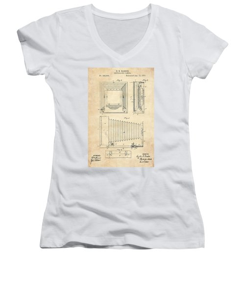 1891 Camera Us Patent Invention Drawing - Vintage Tan Women's V-Neck T-Shirt