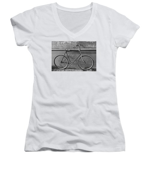 Women's V-Neck T-Shirt featuring the photograph 1895 Bicycle by Joan Reese