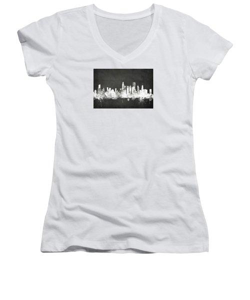 Chicago Illinois Skyline Women's V-Neck T-Shirt (Junior Cut) by Michael Tompsett