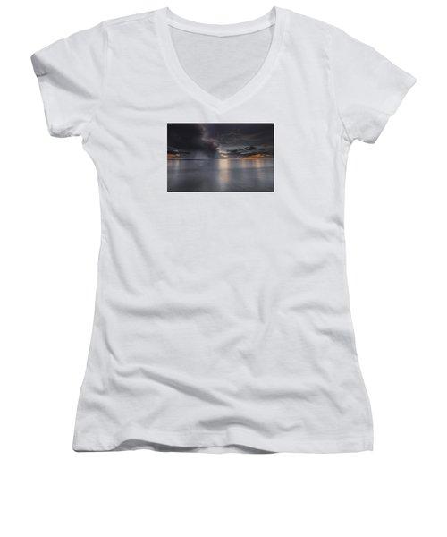 Sunst Over The Ocean Women's V-Neck T-Shirt (Junior Cut) by Peter Lakomy