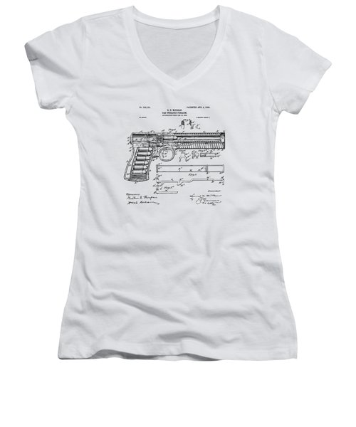 Women's V-Neck featuring the digital art 1903 Mcclean Pistol Patent Artwork - Vintage by Nikki Marie Smith