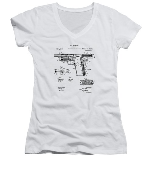 Women's V-Neck T-Shirt (Junior Cut) featuring the drawing 1911 Colt 45 Browning Firearm Patent 2 Artwork Vintage by Nikki Marie Smith