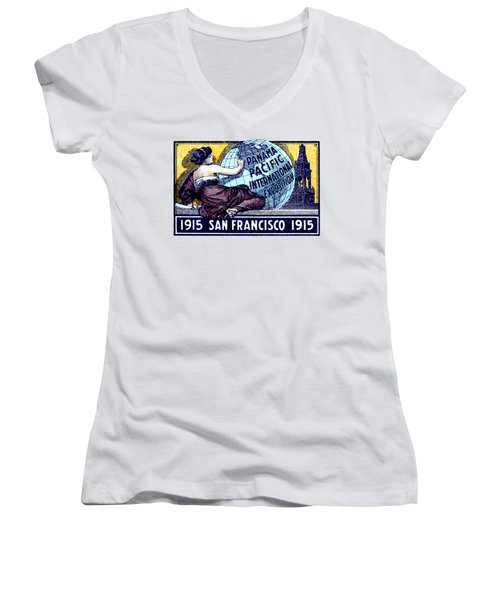1915 San Francisco Expo Poster Women's V-Neck T-Shirt