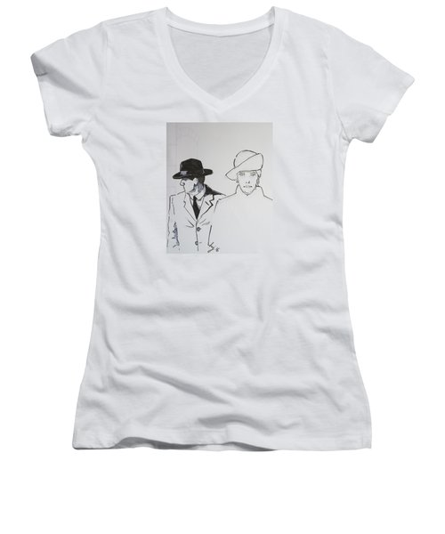 1920s Film Noir - I Think Were Being Followed Women's V-Neck T-Shirt