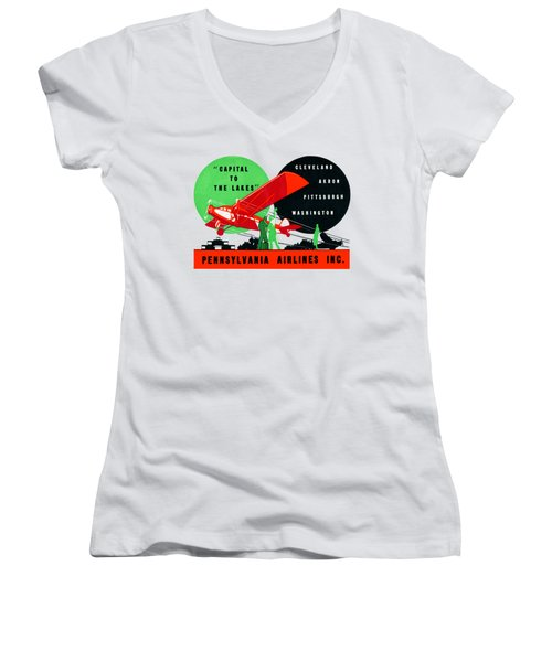 1930 Penn Airlines Poster Women's V-Neck T-Shirt (Junior Cut) by Historic Image