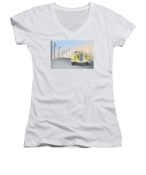 1930's Plymouth Sedan Women's V-Neck T-Shirt (Junior Cut) by Marty Garland