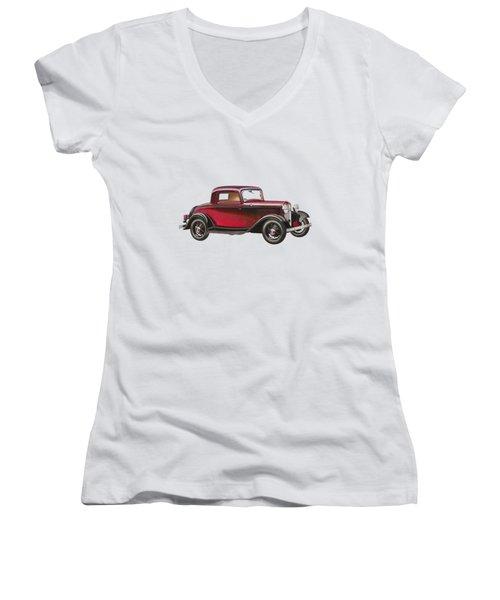 1932 Ford Deluxe Women's V-Neck T-Shirt (Junior Cut) by John Haldane