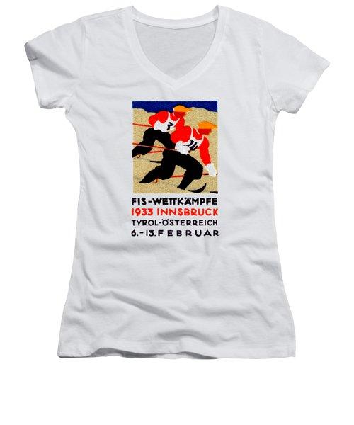 1933 Austrian Ski Race Poster Women's V-Neck T-Shirt