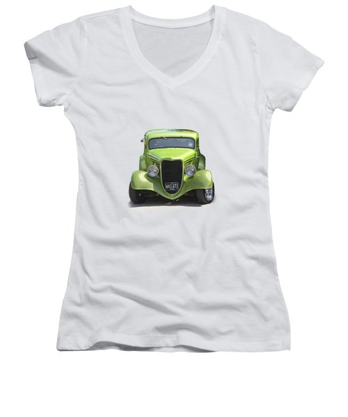 1934 Ford Street Hot Rod On A Transparent Background Women's V-Neck T-Shirt (Junior Cut) by Terri Waters