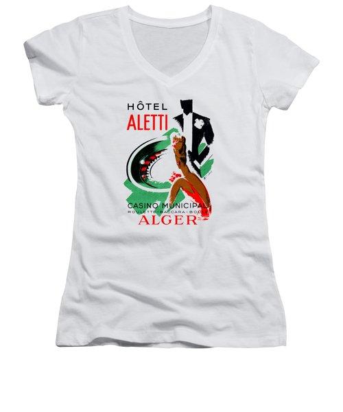 1935 Hotel Aletti Casino Algeria Women's V-Neck T-Shirt (Junior Cut) by Historic Image