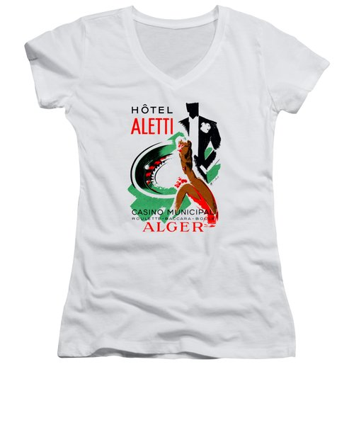 1935 Hotel Aletti Casino Algeria Women's V-Neck T-Shirt