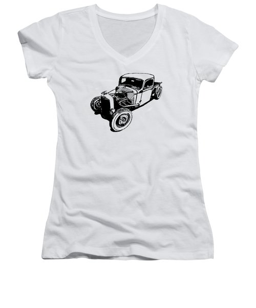 1937 Chevy Bobber Truck Hot Rod Tee Women's V-Neck (Athletic Fit)