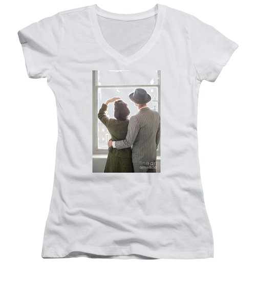1940s Couple At The Window Women's V-Neck T-Shirt (Junior Cut) by Lee Avison