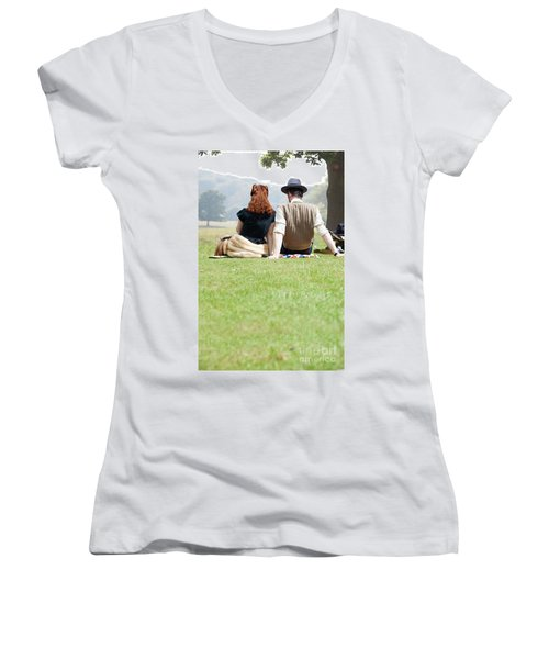 1940s Couple Sitting In The Sunshine Women's V-Neck T-Shirt (Junior Cut) by Lee Avison