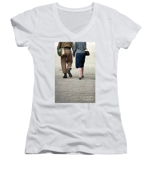1940s Couple Soldier And Civilian Holding Hands Women's V-Neck T-Shirt (Junior Cut) by Lee Avison