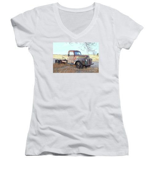 1940s Ford Farm Truck Women's V-Neck (Athletic Fit)