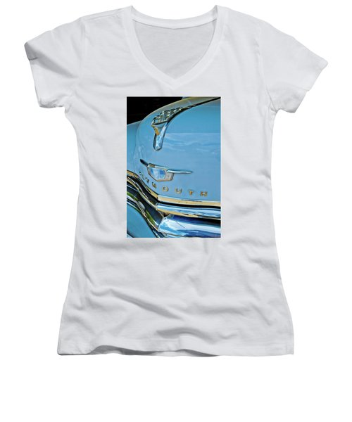 Women's V-Neck T-Shirt (Junior Cut) featuring the photograph 1950 Plymouth Coupe by Linda Unger