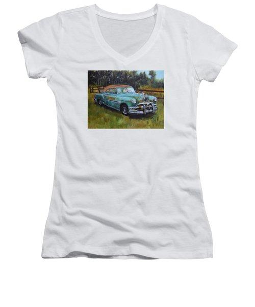 1952 Pontiac Chieftain  Women's V-Neck T-Shirt (Junior Cut) by Sandra Nardone