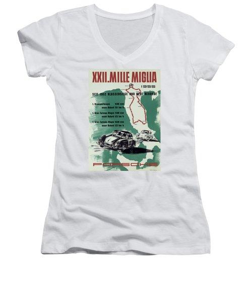 1955 Mille Miglia Porsche Poster Women's V-Neck