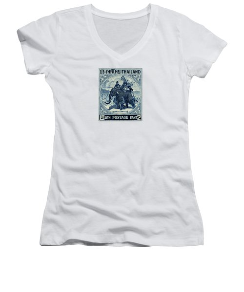 1955 Thailand War Elephant Stamp Women's V-Neck T-Shirt (Junior Cut) by Historic Image