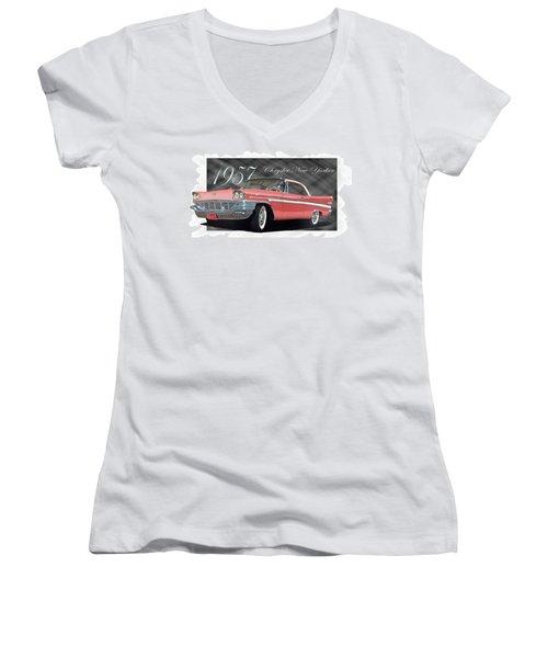 1957 Chrysler New Yorker Women's V-Neck T-Shirt