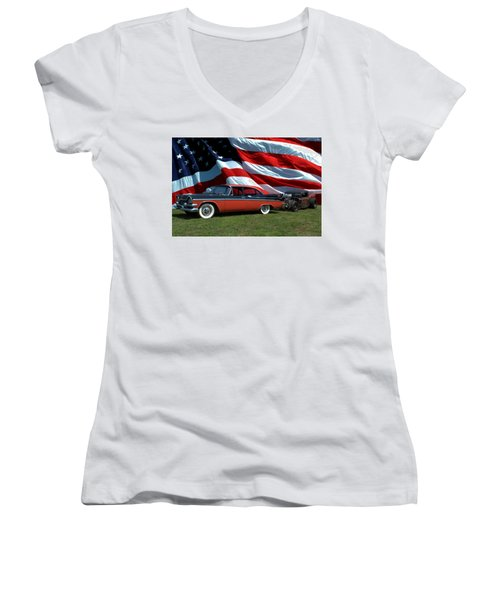 1958 Dodge Coronet And 1935 International Dragster Women's V-Neck (Athletic Fit)