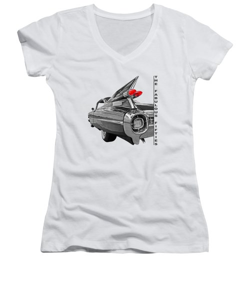1959 Cadillac Tail Fins Women's V-Neck T-Shirt (Junior Cut) by Gill Billington