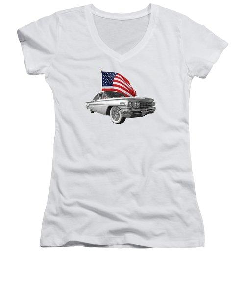 1960 Oldsmobile With Us Flag Women's V-Neck T-Shirt (Junior Cut) by Gill Billington