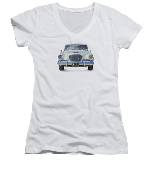 1961 Studebaker Hawk On A Transparent Background Women's V-Neck T-Shirt (Junior Cut) by Terri Waters
