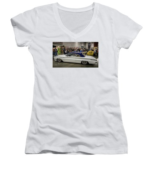 Women's V-Neck T-Shirt (Junior Cut) featuring the photograph 1962 Buick Skylark by Randy Scherkenbach
