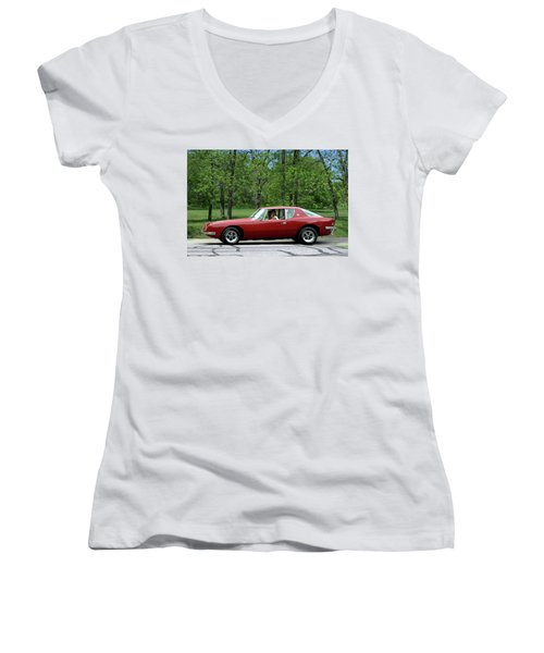 1963 Studebaker Avanti Coupe Women's V-Neck T-Shirt (Junior Cut) by Tim McCullough