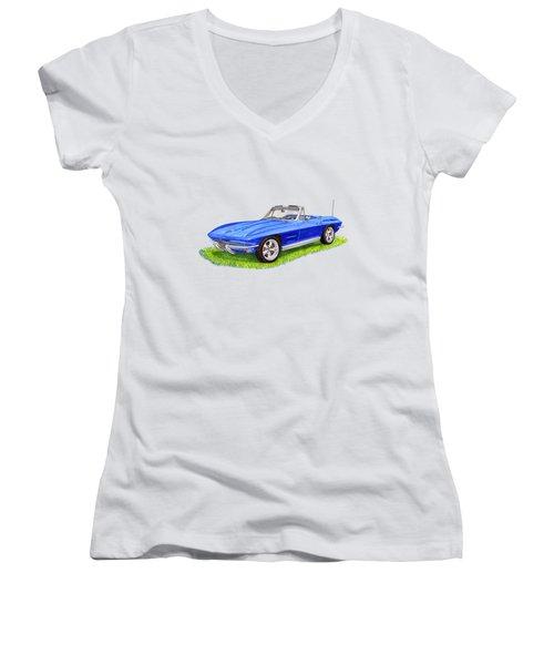 1964 Corvette Stingray Women's V-Neck T-Shirt